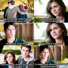 """#TVD 8x08 """"We Have History Together"""" - She reminds you of Elena - #DamonSalvatore #StefanSalvatore"""