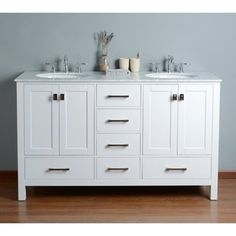 Shop for Nantucket Double-sink Bathroom Vanity Set. Get free delivery On EVERYTHING* Overstock - Your Online Furniture Outlet Store! Get in rewards with Club O! Bathroom Sink Vanity, Bathroom Interior, Bathroom Furniture, Bathroom, Vanity, Bathroom Cabinet Makeover, Double Vanity Bathroom, Bathroom Decor, Double Sink Bathroom