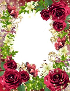Transparent PNG Photo Frame with Red Roses