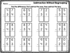 2 Digit Addition and Subtraction Without Regrouping Worksheets Addition And Subtraction Practice, Life Skills Classroom, Math Task Cards, Second Grade, Problem Solving, Worksheets, Names, Education, Madness