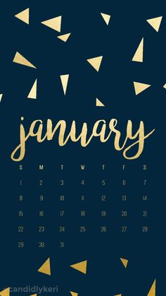 Navy and gold foil triangles January calendar 2017 wallpaper you can download for free on the blog! For any device; mobile, desktop, iphone, android!