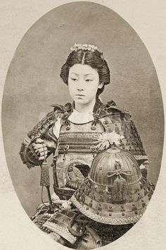 Portrait of a Female Warrior with Flowers in Her Hair, C.1895 Photographic Print at Art.com