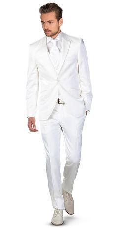 2016 new Italian white wedding men suits peaked lapel men tuxedos slim fit one button men suit for grooms jacket+pants+vest+tie White Wedding Suits For Men, White Tuxedo Wedding, White Suits, Wedding Men, Wedding Tuxedos, Groom Tuxedo, Tuxedo Suit, Tuxedo For Men, White Dress Shoes