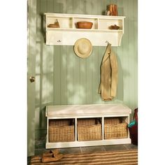 Tetbury Hall Bench and Shelf Unit Ivory (B477) with Free Delivery | The Cotswold Company