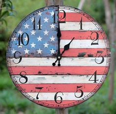 American Flag Decorative Wood Wall Clock