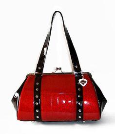my dream handbag.  Ruby Red Sparkle Vinyl Purse with Black Gloss by HOLDFASThandbags