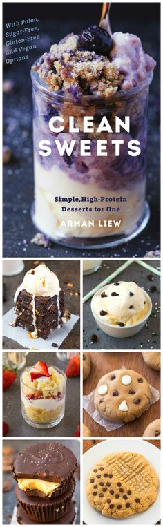 Clean Sweets Cookbook- Simple, High Protein desserts for one, two or a few. – Ar… Clean Sweets Cookbook- Simple, High Protein desserts for one, two [. High Protein Desserts, Protein Snacks, Just Desserts, Delicious Desserts, Dessert Recipes, Yummy Food, Protein Recipes, Paleo Dessert, Snacks Saludables