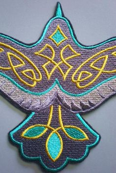 Large Embroidered Raven Iron On Applique Patch, Celtic, Southwestern Design, Western, Turquoise and Gray Shield Maiden, Iron On Applique, Western Shirts, Iron On Patches, Raven, Celtic, Crochet Earrings, Turquoise, Sewing