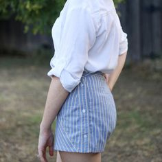 These shorts are made from a man's shirt! Learn how!