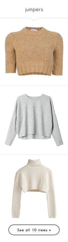 """""""jumpers"""" by skyisnotthelimit ❤ liked on Polyvore featuring tops, sweaters, shirts, crop top, ribbed sweater, raglan shirts, raglan sleeve shirts, cropped knit sweater, jumpers and soft concrete melange"""
