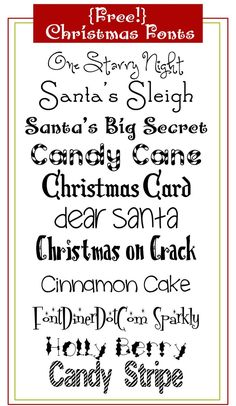 Make your own Christmas cards and gift tags with these free Christmas fonts! Christmas Fonts, Christmas Printables, Christmas Holidays, Christmas Crafts, Christmas Decorations, Christmas Quotes, Christmas Signs, Christmas Pictures, White Christmas