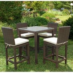 Atlantic Monza Patio Bar Set by International Home Miami. $1440.08. Aluminum and Synthetic Wicker frame. Belongs to Monza Collection. Includes 1 Table with tempered glass and 4 Chairs with cushions. Cushion color: Off-white. Wicker color:dark brown. What is included:Table(1)Chair(4) Great quality, stylish design patio sets, made entirely of high quality resin. No metal parts. I won\'t rust. Polyester cushion with water repellant treatment. Enjoy your patio wit...