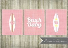 Items similar to Nursery Wall Art Prints / beach theme / set of 3 / inch / pink / beach baby / surf boards / baby girl / girl's room decor on Etsy Surf Nursery, Coastal Nursery, Nautical Nursery, Nursery Wall Art, Nautical Theme, Nursery Room, Baby Am Strand, Pink Beach, Baby Beach