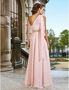 Sheath/Column One Shoulder Floor-length Chiffon Evening Dress - USD $ 199.99 - In Royal Blue