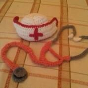 Child crochet nurse hat and stethoscope  Sizes newborn-3yrs. www.facebook.com/CreatedfromtheHardt
