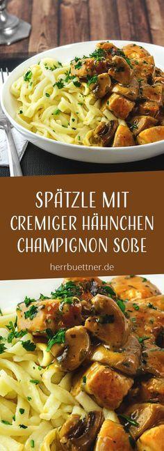 Spätzle mit Hähnchen und Champignons in Sahnesoße mit Thymian und Petersilie.