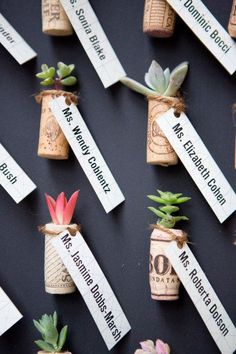 wine cork place card and favor in one - Deer Pearl Flowers