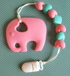 Hey, I found this really awesome Etsy listing at https://www.etsy.com/ca/listing/463621652/pink-baby-elephant-teether-with-clip-for