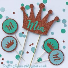 Make cake toppers, large and small, from chipboard and glitter heat transfer with your Silhouette or Cricut.