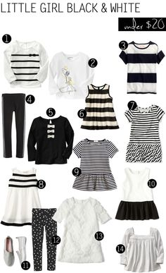 Black + White deals for girls // ropa blanco y negro para niñas