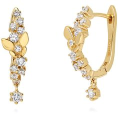 BERRICLE Gold Plated Sterling Silver CZ Butterfly Fashion Hoop... ($45) ❤ liked on Polyvore featuring jewelry, earrings, clear, hoop earrings, women's accessories, hinged hoop earrings, butterfly earrings, clear earrings, cz earrings and cz hoop earrings