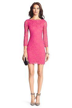 DVF Zarita Lace Dress in Fuchsia Jewel