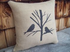 Chicadees in a Tree Decorative Pillow