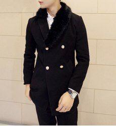 $27.25 Elegant Faux Fur Splicing Turn-down Collar Double Breasted Long Sleeves Black Woolen Coat For Men