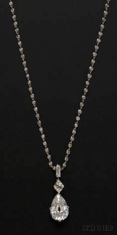 Important Art Deco Platinum and Diamond Pendant Necklace, Cartier | Skinner Auctioneers