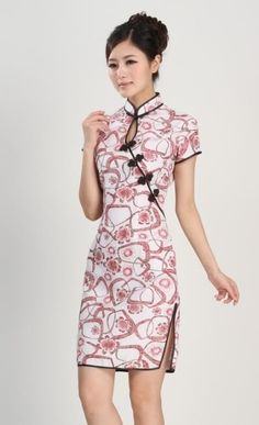 Chinese Women's silk/satin Mini Dress Cheongsam