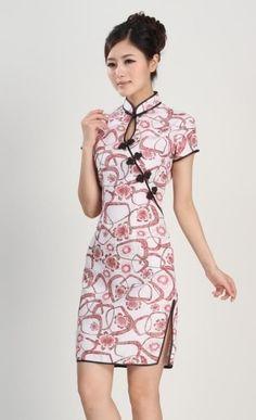 Chinese Women's silk/satin Mini Dress Cheongsam