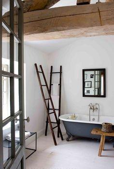 Simple, rustic bathroom.
