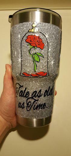 Beauty & The Beast Yeti 🌹 ❤️ Diy Tumblers, Custom Tumblers, Glitter Tumblers, Glitter Projects, Diy Projects, Tumblr Cup, Disney Cups, Girly Car, Yeti Cup