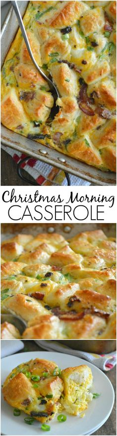 A super simple casserole made with refrigerated biscuits, eggs, cheese, and bacon. Christmas Morning Casserole is perfect for long lazy mornings with family and friends.