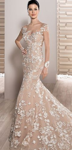 Demetrios 2017 unique fit n flare gown with Sweetheart neckline