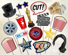 Movie Night Photobooth Prop Set - Have a great night at the movies with these party props. Use with a photobooth or just as party decorations. *** Digital Product *** --- Personal Use Only --- WHAT*YOU*GET Both JPG files and PDF files are included. Backyard Movie Night Party, Outdoor Movie Nights, Engagement Party Planning, Have A Great Night, File Image, Night Photos, Party Props, Photo Booth Props, Pdf