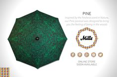PINE - inspired by the freshest scent in Nature, our Pine parasol was designed to bring you feeling of being in the woods! #Parasols #Mills #MillsParasols #Pine #sun #sunumbrella #garden #homedecor #design #decor #landscaping #availablesoon #shadow #colourfulshadow