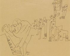 Jean Cocteau, Caricature drawing of the composer Igor Stravinsky playing the music for Rite of Spring (1913)