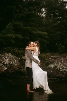 """We're swooning over the rainy photos from this intimate lakeside elopement. Search """"Relaxed Rainy-Day Lakeside Elopement"""" on the blog! 