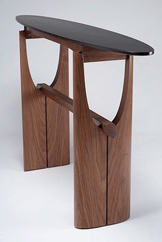 cormorant hall/entry table - black walnut, ebonized tiger maple, blackwood - Eben Blaney Furniture