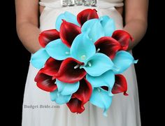 Deep Red and Tiffany Blue Calla Lily Wedding Flowers