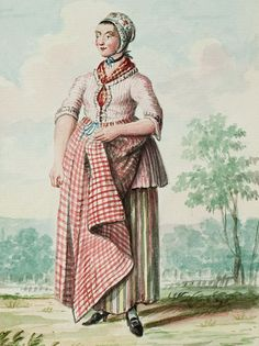 "1770s - 18th century - woman's outfit with mixed print fabrics (jacket in small stripes, skirt in large stripes, apron in plaid/checks, and cap in floral) - From ""An album containing 90 fine water color paintings of costumes."" Turin : [s.n.] , [ca.1775].  In the collection of the Bunka Fashion College in Japan.  Underneath the illustration is handwritten in pencil ""Flemish or"" and a third word that might be ""Rhennish"""