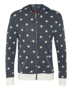 Alternative - Printed Eco-Jersey Hooded Full-Zip - 1970ea Stars/ Eco Ivory