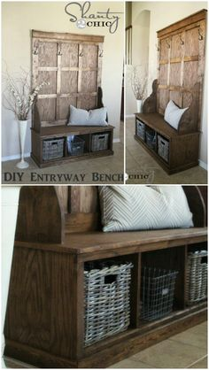 The best DIY projects & DIY ideas and tutorials: sewing, paper craft, DIY. DIY Furniture Plans & Tutorials : Rustic hall tree - 50 Decorative Rustic Storage Projects For a Beautifully Organized Home -Read Organizing Your Home, Home Organization, Country Decor, Rustic Decor, Country Chic, Rustic Wood, French Country, Rustic Hall Trees, Home Interior