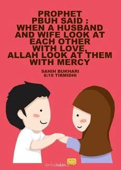 Le prophète (sws) a dit: Quand un mari et sa femme se regardent avec amour, Allah les regard avec piété ♥ ♥ ♥