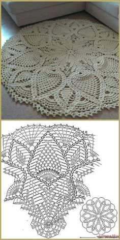 Crochet rug crochet carpet doily lace rug by eMDesignBoutique how to crochet shawl 1 This Pin was discovered by Moz Gorgeous Doesnt Look Like Patterns Crochet May The Miracle Oval Ma Rugs ndi crocheted: Maganizo a 25 + malingaliro opanga zinthu Filet Crochet, Crochet Doily Rug, Crochet Doily Diagram, Crochet Carpet, Crochet Rug Patterns, Crochet Tablecloth, Thread Crochet, Crochet Designs, Crochet Flowers