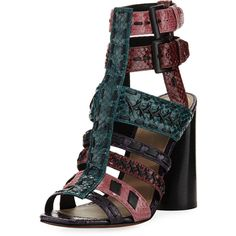 Donald J Pliner Bindy Multi-Strap Stitched Sandal (16.980 RUB) ❤ liked on Polyvore featuring shoes, sandals, multi, ankle strap sandals, ankle wrap sandals, block-heel sandals, ankle wrap shoes and leather sole sandals