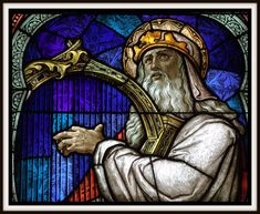 King David, 1 Samuel 16:23: Stained Glass Window, St. Wendelin Catholic Church