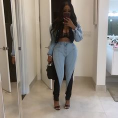 Miami Outfits, Sexy Outfits, Cute Outfits, Denim On Denim Looks, Comfy Casual, Fall Looks, Fashion Lookbook, Streetwear Fashion, Winter Outfits