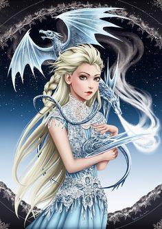 Elsa/Game of Thrones Crossover by Lydia The Hobo #GameOfThronesCrossover #Elsa #Frozen #Dragons #Disney #FanArt #Queen